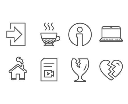 Set of Doppio, Fragile package and Login icons. Notebook, Video file and Break up signs. Coffee drink, Safe shipping, Sign in. Laptop computer, Vlog page, Divorce. Vector Ilustração