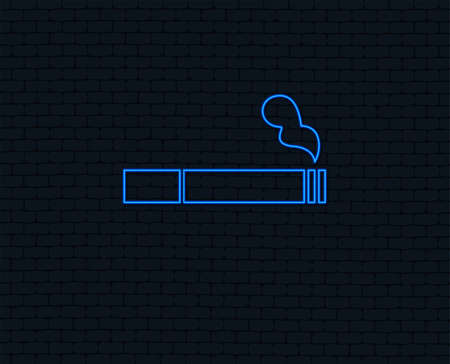 Neon light. Smoking sign icon. Cigarette symbol. Glowing graphic design. Brick wall. Vector