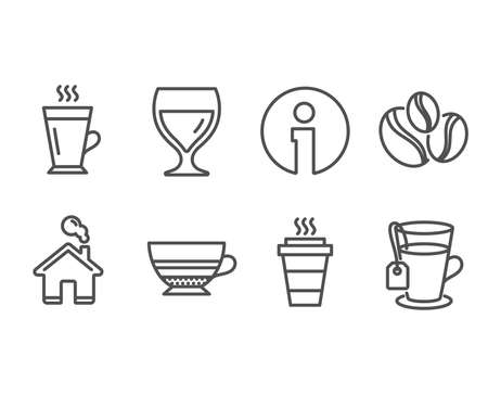Set of Coffee-berry beans, Latte and Wine glass icons. Mocha, Takeaway and Tea signs. Coffee beans, Tea glass mug, Cabernet wineglass. Coffee cup.  Information and Home design elements. Vector Ilustração