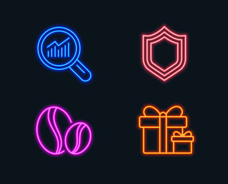 Neon lights. Set of Security, Data analysis and Coffee beans icons. Surprise package sign. Protection shield, Magnifying glass, Whole bean. Present boxes.  Glowing graphic designs. Vector Illustration