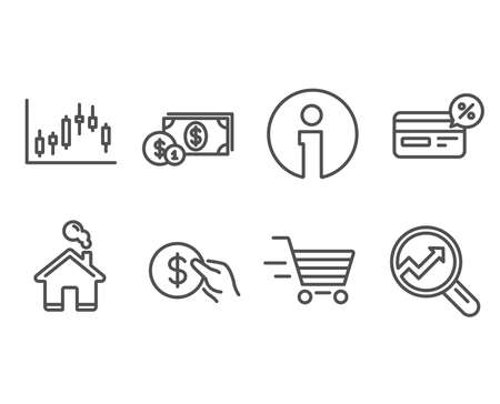 Set of Delivery shopping, Candlestick graph and Cashback icons. Payment, Dollar money and Analytics signs. Online buying, Finance chart, Non-cash payment. Usd coin, Cash with coins, Audit analysis