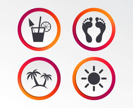 Beach holidays icons. Cocktail, human footprints and palm trees signs. Summer sun symbol. Infographic design buttons. Circle templates. Vector