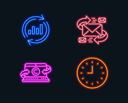 Neon lights. Set of E-mail, Copywriting notebook and Update data icons. Clock sign. Communication by letters, Writer laptop, Sales chart. Time or watch.  Glowing graphic designs. Vector
