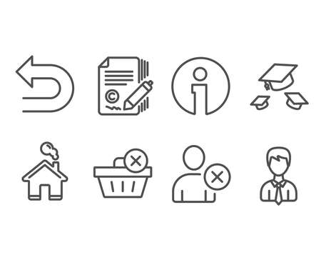Set of Delete purchase, Delete user and Undo icons. Throw hats, Copywriting and Businessman signs. Remove from basket, Remove profile, Left turn. College graduation, Ð¡opyright signature, User data