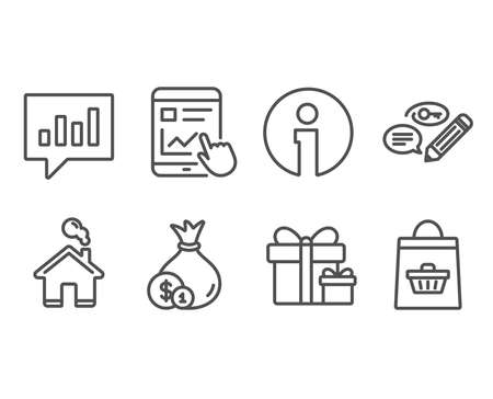 Set of Cash, Keywords and Surprise package icons. Internet report, Analytical chat and Online buying signs. Banking currency, Pencil with key, Present boxes. Vector