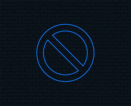 Neon light. Stop sign icon. Prohibition symbol. No sign. Glowing graphic design. Brick wall. Vector Illustration