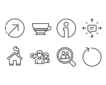 Set of Sms, People talking and Search employees icons. Bombon coffee, Direction and Loop signs. Conversation, Contact service, Staff analysis. Cafe bombon, Navigation pointer, Refresh. Vector