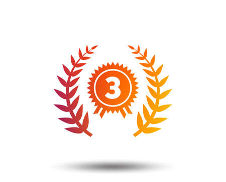 Third place award sign icon. Prize for winner symbol. Laurel Wreath. Blurred gradient design element. Vivid graphic flat icon. Vector