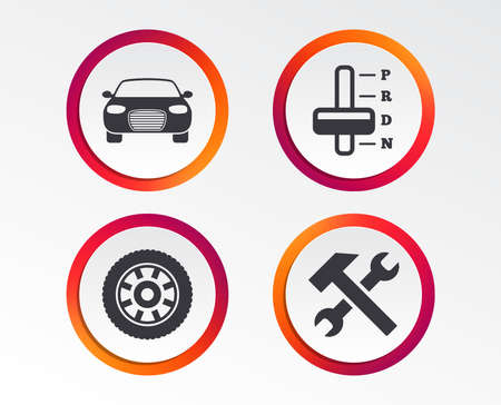 Transport icons. Car tachometer and automatic transmission symbols. Repair service tool with wheel sign. Infographic design buttons. Circle templates. Vector