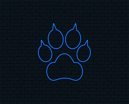 Neon light. Dog paw with clutches sign icon. Pets symbol. Glowing graphic design. Brick wall. Vector Illustration