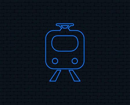 Neon light. Subway sign icon. Train, underground symbol. Glowing graphic design. Brick wall. Vector