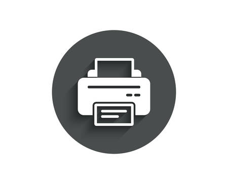 Printer icon. Printout Electronic Device sign. Office equipment symbol. Circle flat button with shadow. Vector