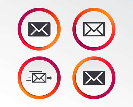 Mail envelope icons. Message delivery symbol. Post office letter signs. Infographic design buttons. Circle templates. Vector