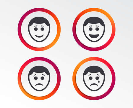 Human smile face icons. Happy, sad, cry signs. Happy smiley chat symbol. Sadness depression and crying signs. Infographic design buttons. Circle templates. Vector