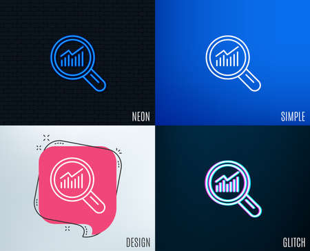 Glitch, Neon effect. Chart line icon. Report graph or Sales growth sign in Magnifying glass. Analysis and Statistics data symbol. Trendy flat geometric designs. Vector