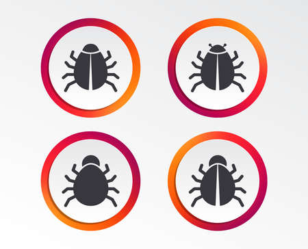 Bugs vaccination icons. Virus software error sign symbols. Infographic design buttons. Circle templates. Vector