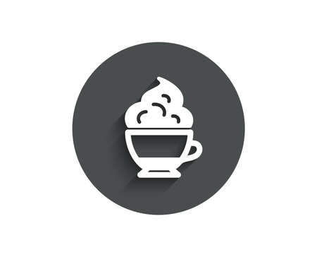 Cappuccino coffee with Whipped cream icon. Hot drink sign. Beverage symbol. Circle flat button with shadow. Vector Illustration