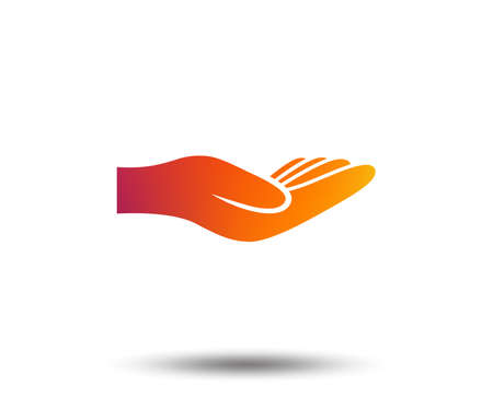 Donation hand sign icon. Charity or endowment symbol. Human helping hand palm. Blurred gradient design element. Vivid graphic flat icon. Vector Illustration