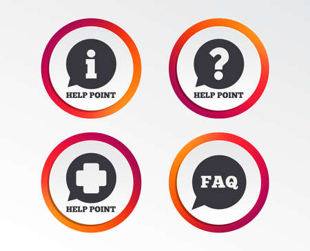 Help point icons. Question and information symbols. FAQ speech bubble signs. Infographic design buttons. Circle templates. Vector