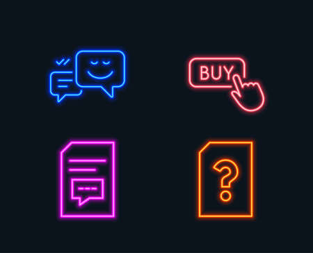 Neon lights. Set of Buy button, Happy emotion and Comments icons. Unknown file sign. Online shopping, Web chat, Document with speech bubble. Doc with question mark.  Glowing graphic designs. Vector