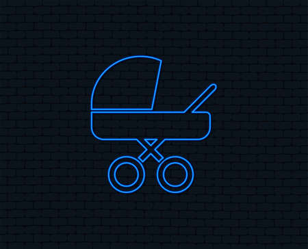 Neon light. Baby pram stroller sign icon. Baby buggy. Baby carriage symbol. Glowing graphic design. Brick wall. Vector