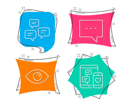 Set of Blog, Chat messages and Eye icons. Social media sign. Chat message, Communication, View or vision. Mobile devices.  Flat geometric colored tags. Vivid banners. Trendy graphic design. Vector Illustration