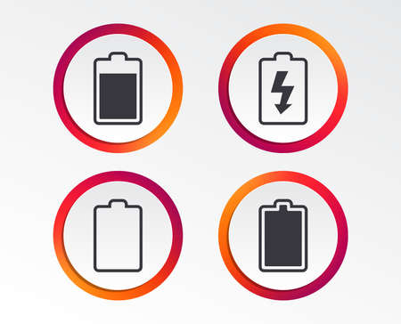 Battery charging icons. Electricity signs symbols. Charge levels: full, empty. Infographic design buttons. Circle templates. Vector