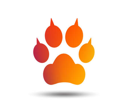 Dog paw with clutches sign icon. Pets symbol. Blurred gradient design element. Vivid graphic flat icon. Vector
