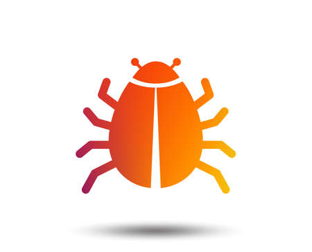 Bug sign icon. Virus symbol. Software bug error. Disinfection. Blurred gradient design element. Vivid graphic flat icon. Vector
