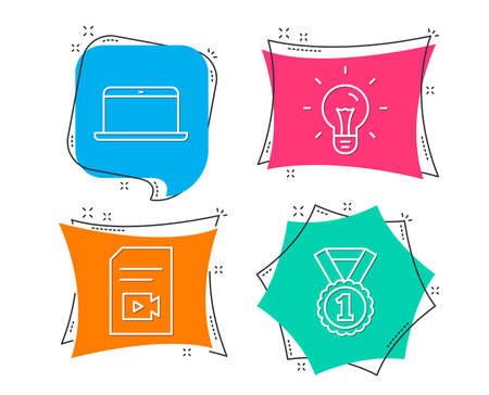 Set of Idea, Laptop and Video file icons. Best rank sign. Light bulb, Mobile computer, Vlog page. Success medal.  Flat geometric colored tags. Vivid banners. Trendy graphic design. Vector