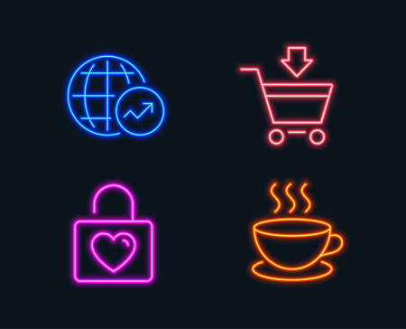 Neon lights. Set of Online market, Wedding locker and World statistics icons. Cappuccino sign. Shopping cart, Valentines day, Global report. Espresso cup.  Glowing graphic designs. Vector
