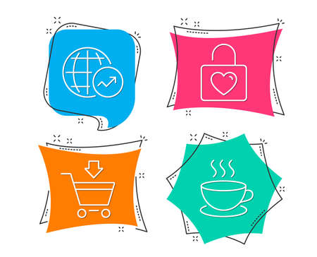Set of Online market, Wedding locker and World statistics icons. Cappuccino sign. Shopping cart, Valentines day, Global report. Espresso cup.  Flat geometric colored tags. Vivid banners. Vector