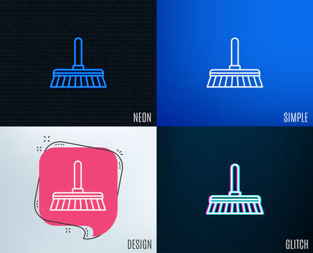 Glitch, Neon effect. Cleaning mop line icon. Sweep or Wash a floor symbol. Washing Housekeeping equipment sign. Trendy flat geometric designs. Vector