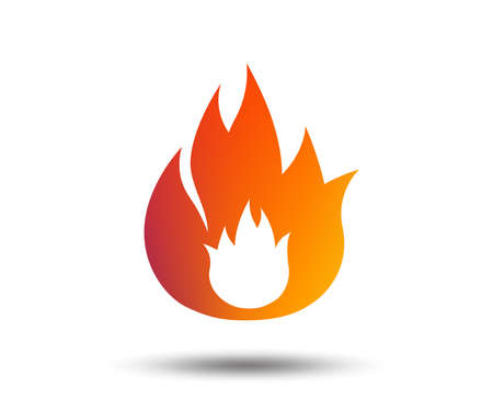 Fire flame sign icon. Fire symbol. Stop fire. Escape from fire. Blurred gradient design element. Vivid graphic flat icon. Vector
