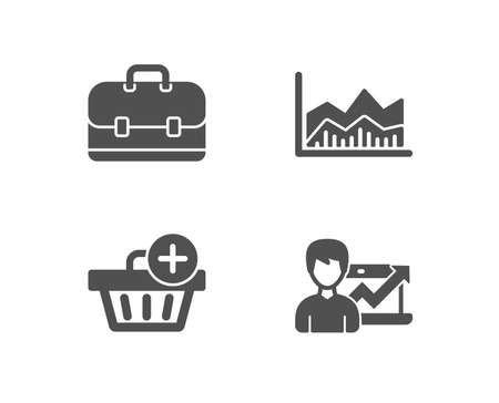 Set of Portfolio, Add purchase and Trade infochart icons. Success business sign. Business case, Shopping order, Growth chart.  Quality design elements. Classic style. Vector