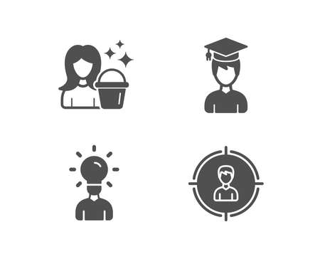 Set of Student, Cleaning and Education icons. Headhunting sign. Graduation cap, Maid service, Human idea. Person in target.  Quality design elements. Classic style. Vector