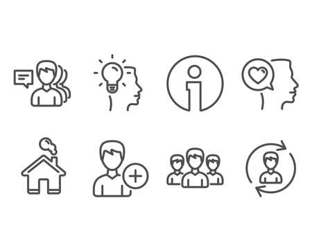 Set of Group, Add person and Idea icons. Romantic talk, People and Human resources signs. Group of people, Edit user data, Professional job. Love chat, Support job, Update profile. Vector