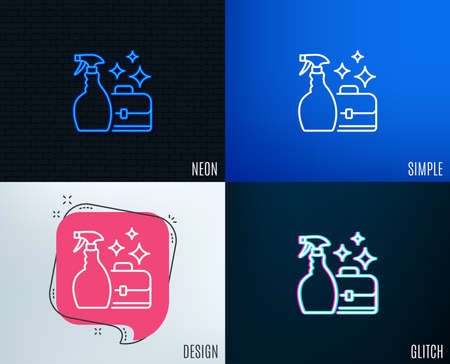 Glitch, Neon effect. Cleaning spray line icon. Washing liquid or Cleanser symbol. Housekeeping service sign. Trendy flat geometric designs. Vector Stock Illustratie