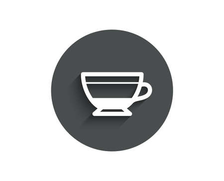 Dry Cappuccino coffee icon. Hot drink sign. Beverage symbol. Circle flat button with shadow. Vector