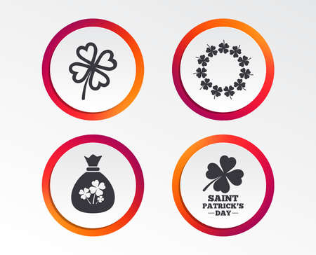 Saint Patrick day icons. Money bag with clover sign. Wreath of quatrefoil clovers. Symbol of good luck. Infographic design buttons. Circle templates. Vector