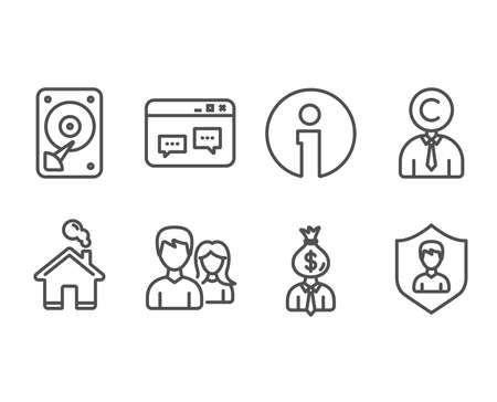 Set of Ð¡opyrighter, Teamwork and Browser window icons. Hdd, Manager and Security agency signs. Writer person, Man with woman, Website chat. Hard disk, Work profit, People protection. Vector