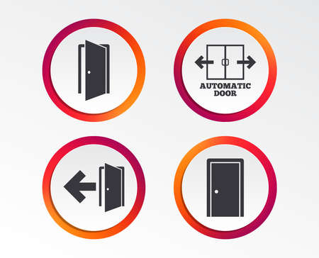 Automatic door icon. Emergency exit with arrow symbols. Fire exit signs. Infographic design buttons. Circle templates. Vector