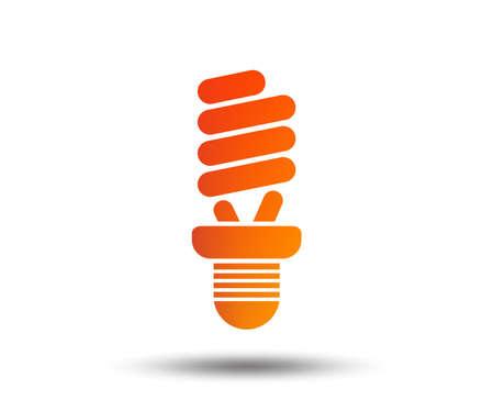 Fluorescent lamp bulb sign icon. Energy saving. Idea and success symbol. Blurred gradient design element. Vivid graphic flat icon. Vector