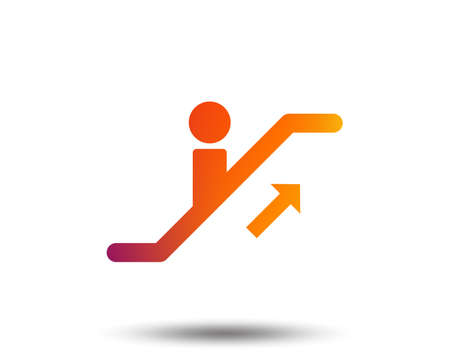 Escalator staircase icon. Elevator moving stairs up symbol. Blurred gradient design element. Vivid graphic flat icon. Vector 일러스트