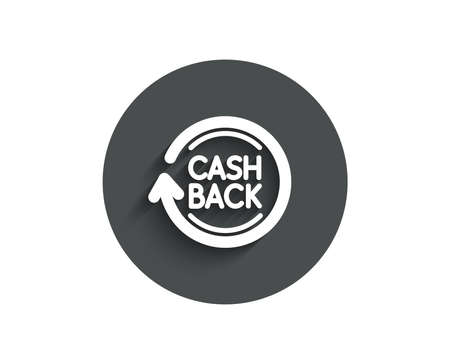 Cashback service simple icon. Money transfer sign. Rotation arrow symbol. Circle flat button with shadow. Vector