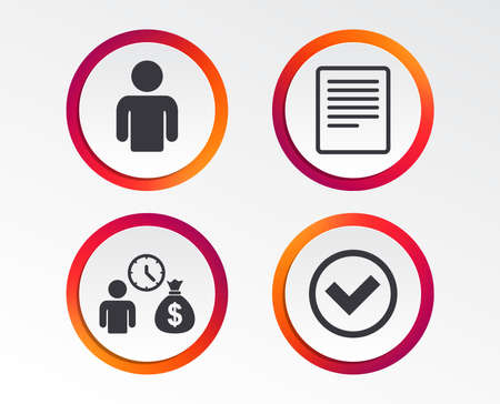 Bank loans icons. Cash money bag symbol. Apply for credit sign. Check or Tick mark. Infographic design buttons. Circle templates. Vector Illustration