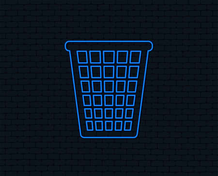 Neon light. Recycle bin sign icon. Bin symbol. Glowing graphic design. Brick wall. Vector Illustration