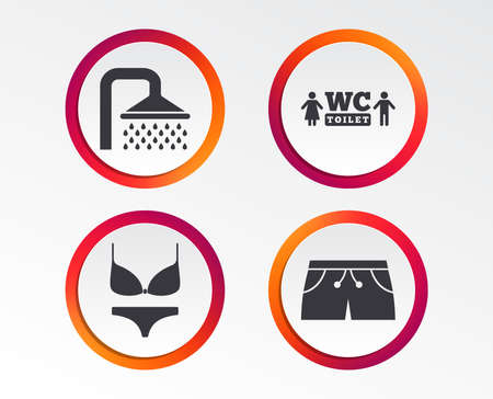 Swimming pool icons. Shower water drops and swimwear symbols. WC Toilet sign. Trunks and women underwear. Infographic design buttons. Circle templates. Vector