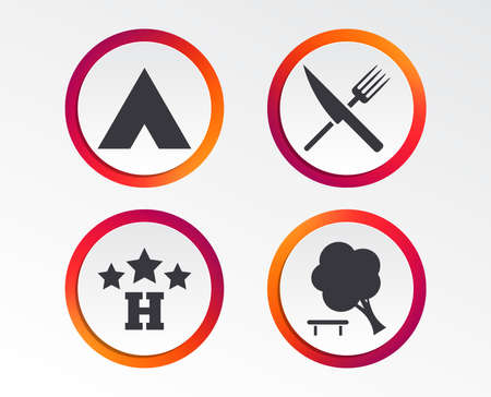 Food, hotel, camping tent and tree icons. Knife and fork. Break down tree. Road signs. Infographic design buttons. Circle templates. Vector