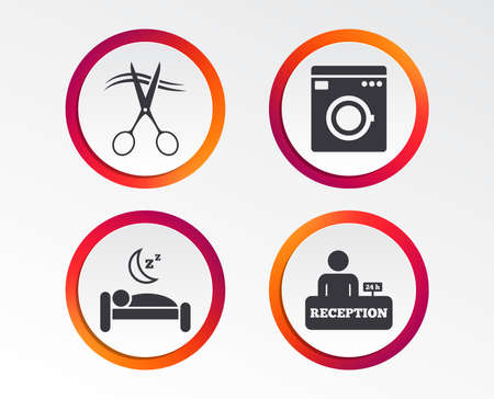Hotel services icons. Washing machine or laundry sign. Hairdresser or barbershop symbol. Reception registration table. Quiet sleep. Infographic design buttons. Circle templates. Vector